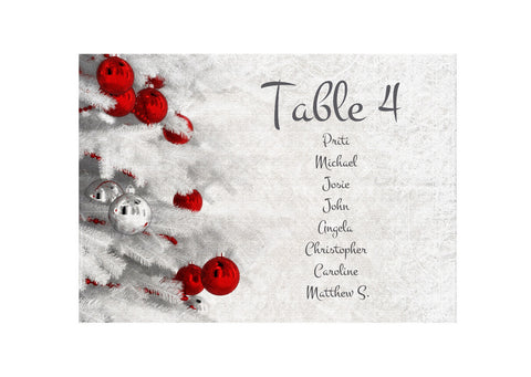 063 Red Baubles Seating Plan Cards