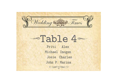 089 Wedding News Seating Plan Cards
