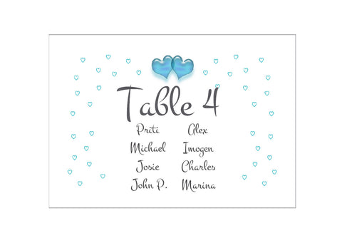 086 Turquoise Hearts Seating Plan Cards