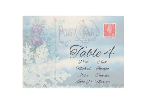 060 Postcard Snowflake Seating Plan Cards