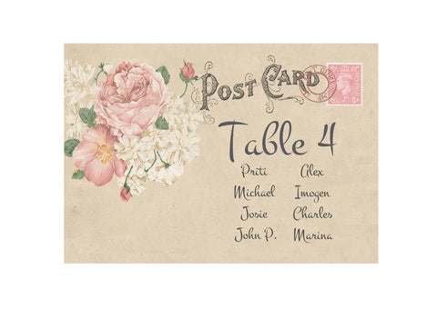 014 Vintage Postcard Seating Plan Cards