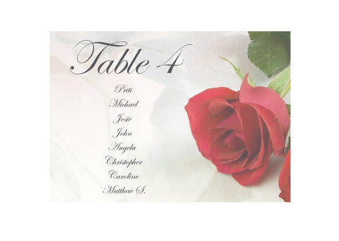 065 Red Rose Seating Plan Cards