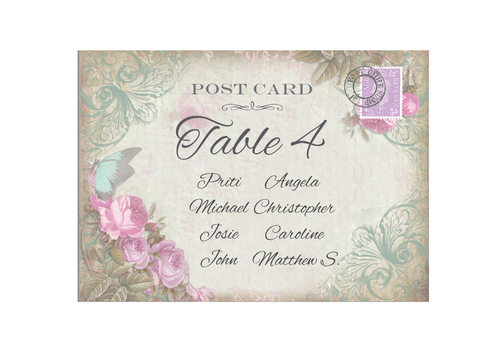 062 Butterfly Pink Flower Seating Plan Cards