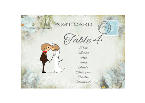 046 Kiss Couple Flowers Seating Plan Cards