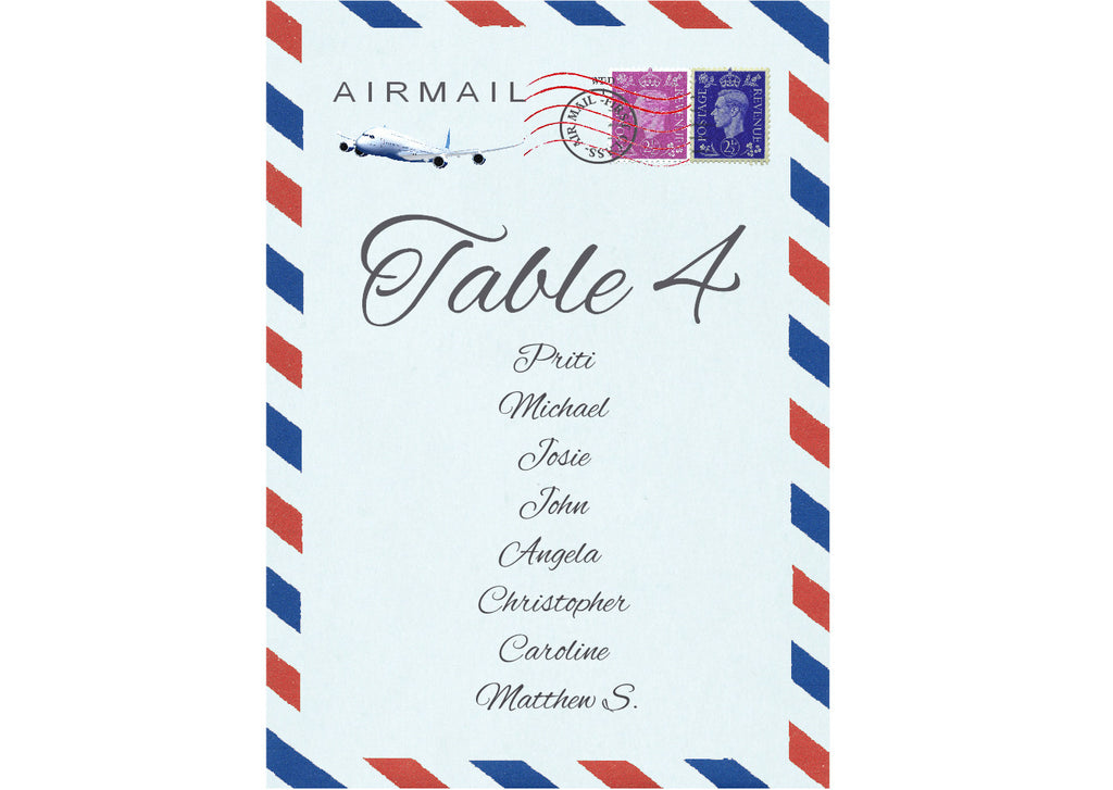 033 Airmail Seating Plan Cards