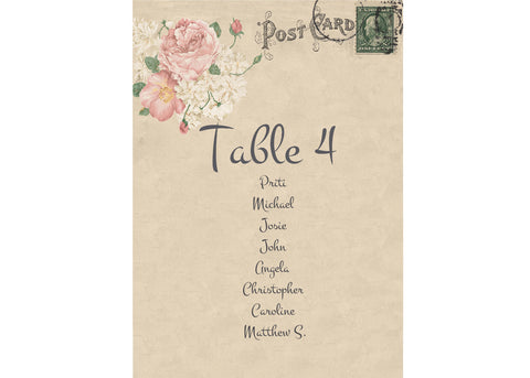 001 Bouquet Postcard Seating Plan Cards