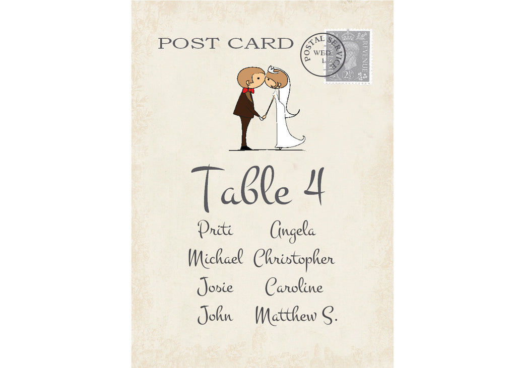 034 Couple Kissing Seating Plan Cards