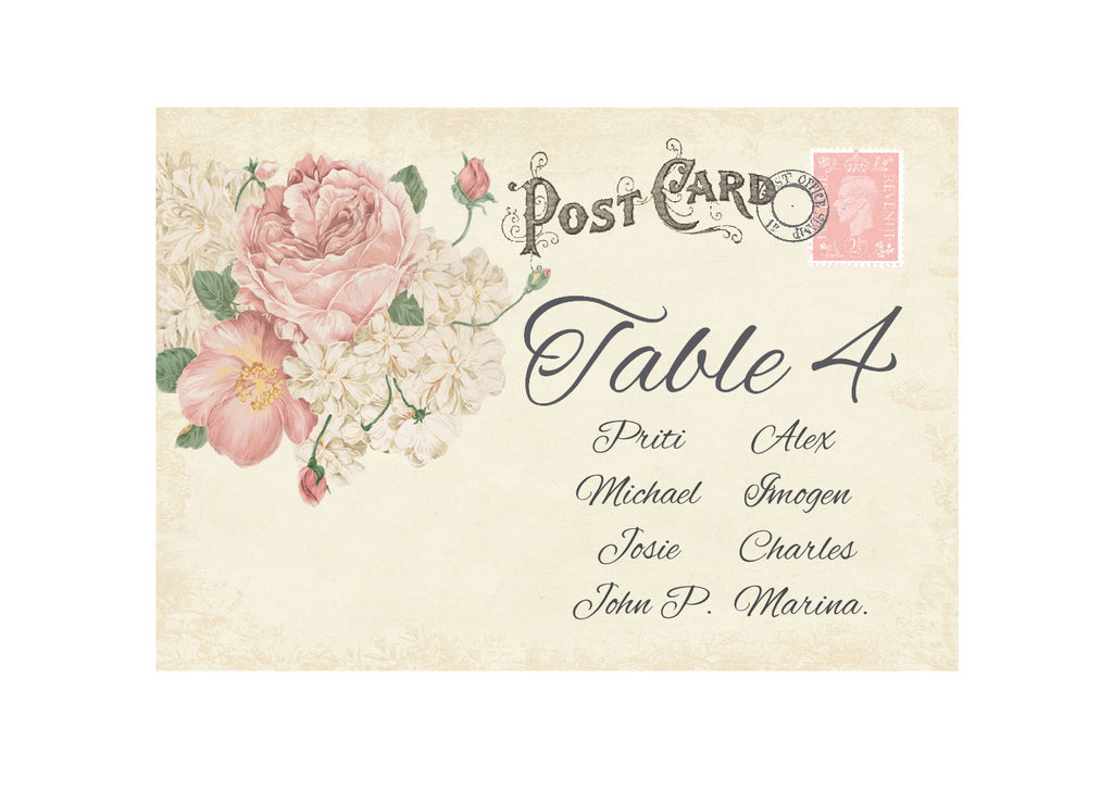 042 Ivory Postcard Seating Plan Cards