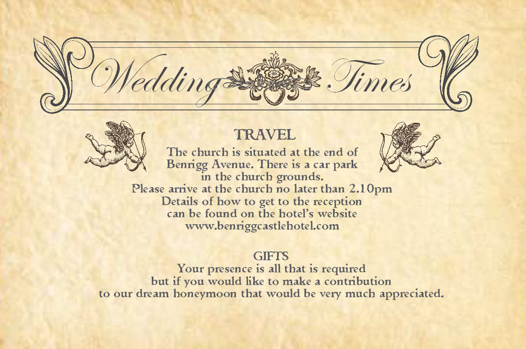 089 Wedding News Information Cards