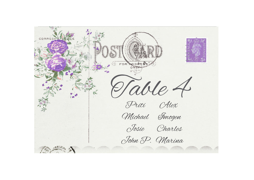 043 Lavender Postcard Seating Plan Cards