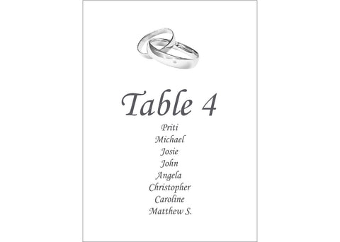 048 Linked Rings Seating Plan Cards