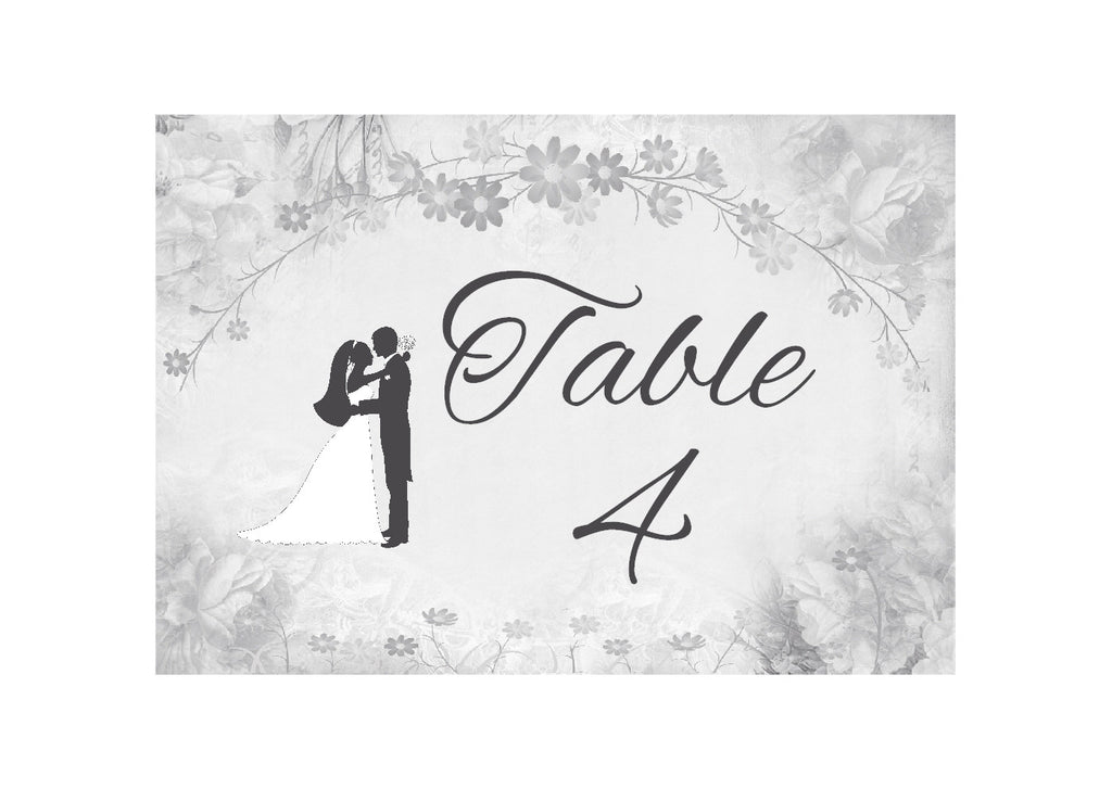 002 Flower Silhouette Table Number Cards