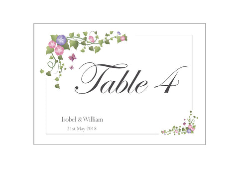 041 Ivy Corners Table Number Cards