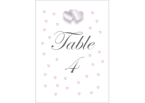 018 Grey & Pink Hearts Table Number Cards