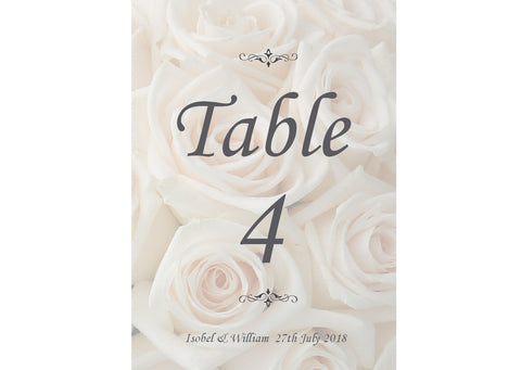 020 Ivory Roses Table Number Cards
