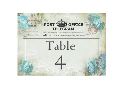 039 Flower Telegram Blue Table Number Cards