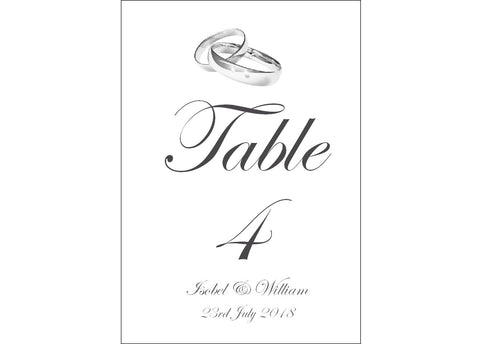 017 Rings Above Table Number Cards