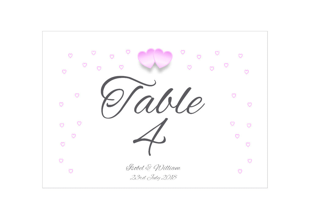 055 Pink Hearts Table Number Cards