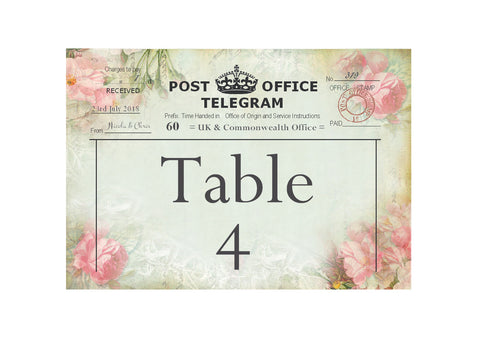 057 Pink Telegram Table Number Cards