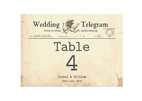 023 Cupid Telegram Table Number Cards