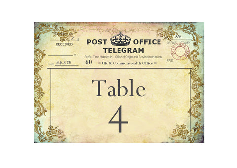 011 Filigree Telegram Table Number Cards