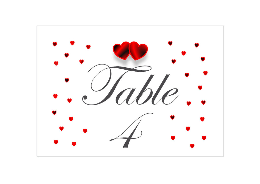 064 Red Hearts Table Number Cards