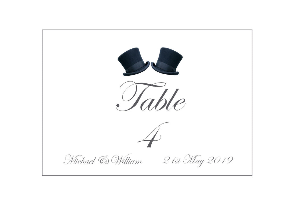 081 Top Hats Table Number Cards