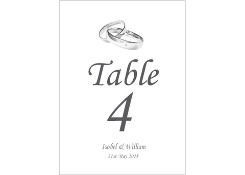 048 Linked Rings Table Number Cards