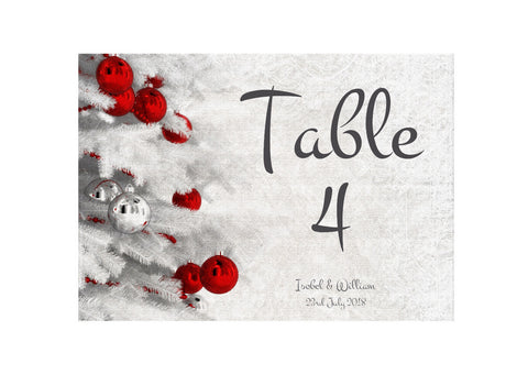 063 Red Baubles Table Number Cards