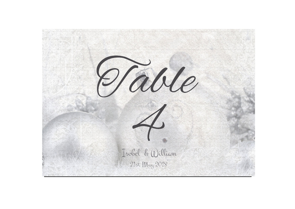 072 Silver Baubles Table Number Cards