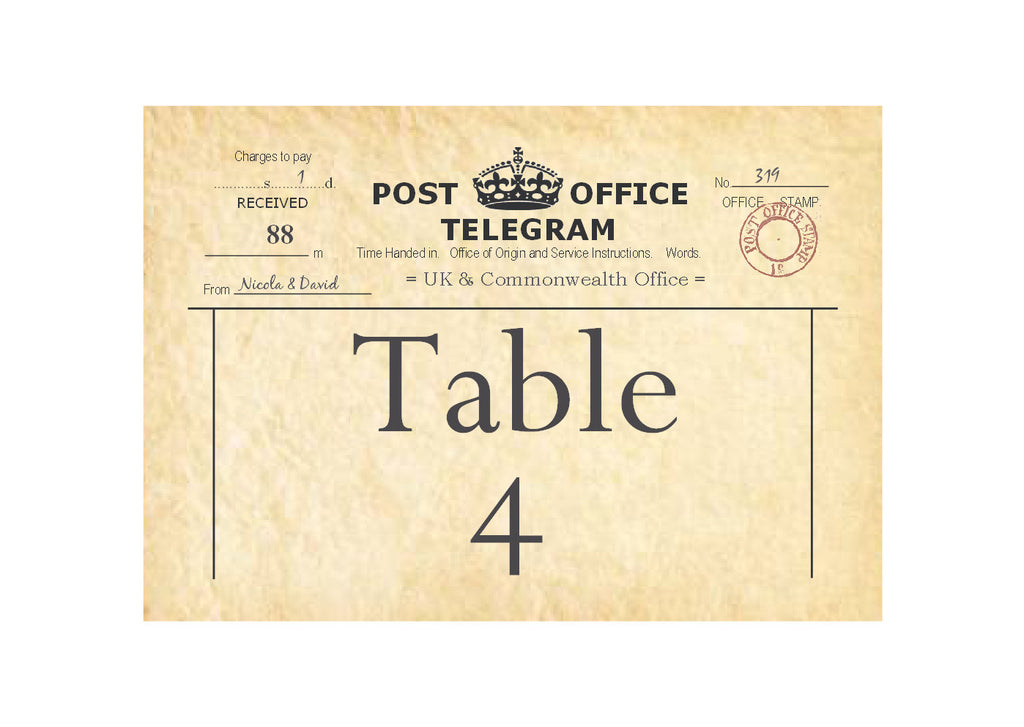 003 PO Telegram Table Number Cards