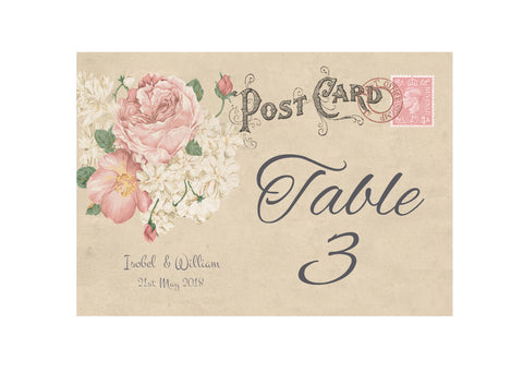 014 Vintage Postcard Table Number Cards