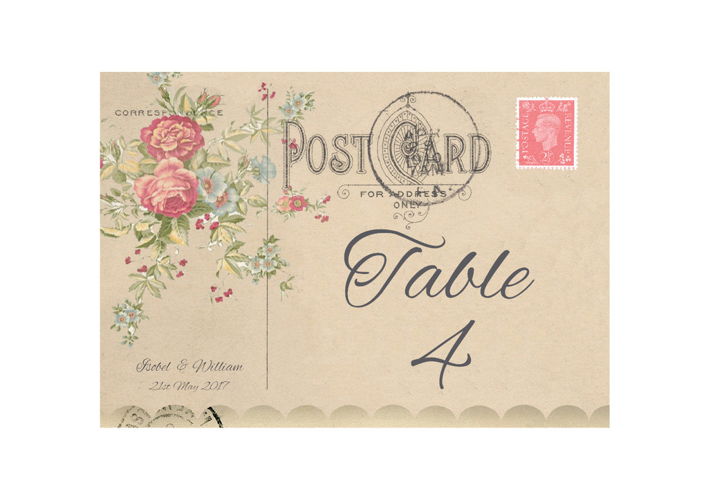067 Rose Bouquet Table Number Cards