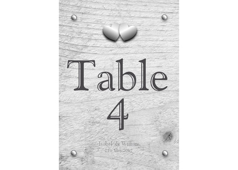 009 Rustic Hearts Table Number Cards