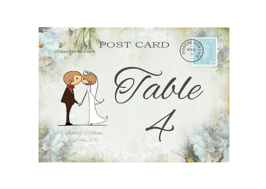 046 Kiss Couple Flowers Table Number Cards