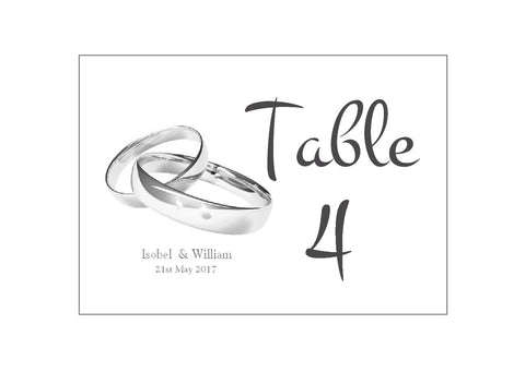 059 Wedding Rings Table Number Cards