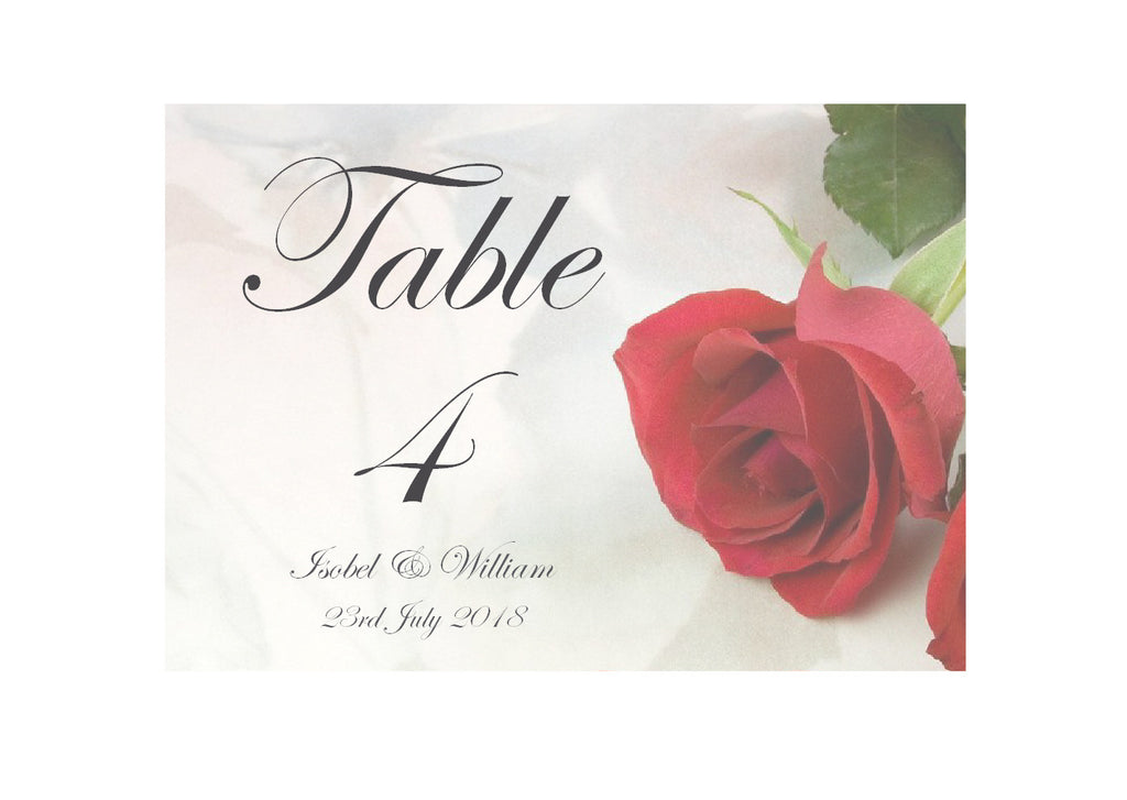 065 Red Rose Table Number Cards
