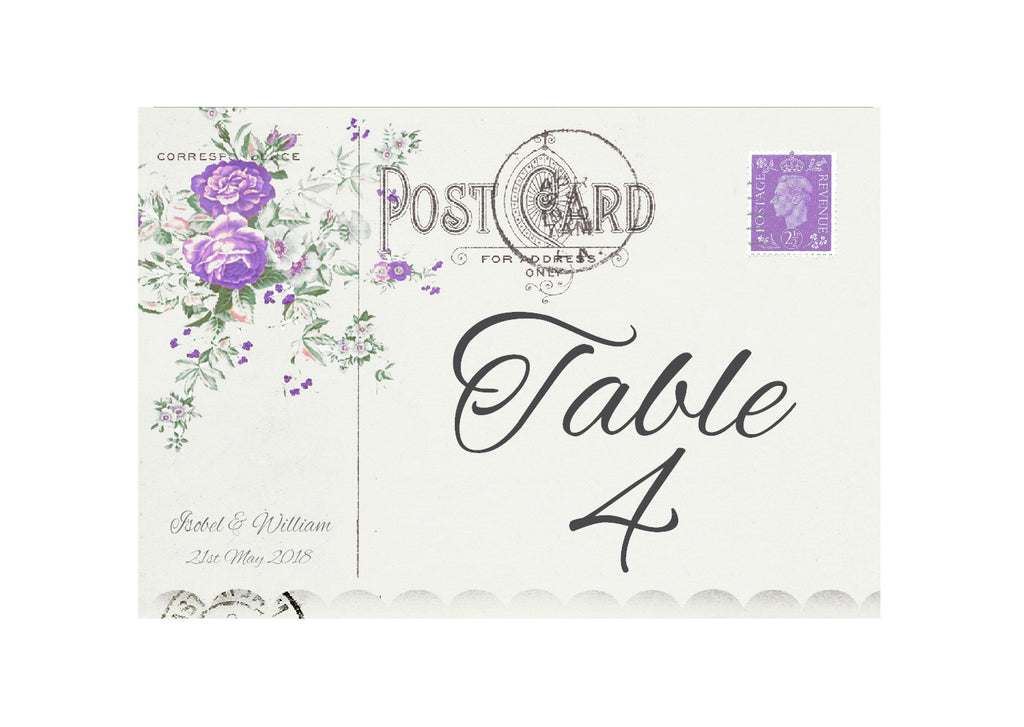 043 Lavender Postcard Table Number Cards