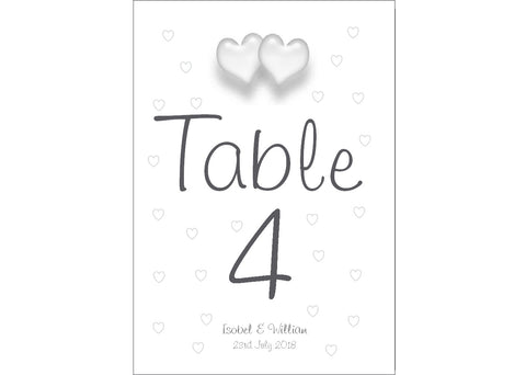 050 Love Hearts Table Number Cards