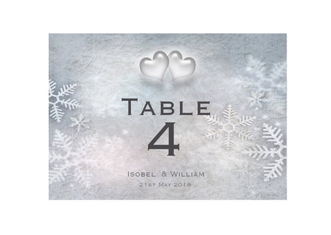 012 Snowflake Hearts Table Number Cards