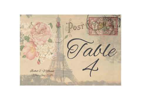 056 Paris Postcard Table Number Cards