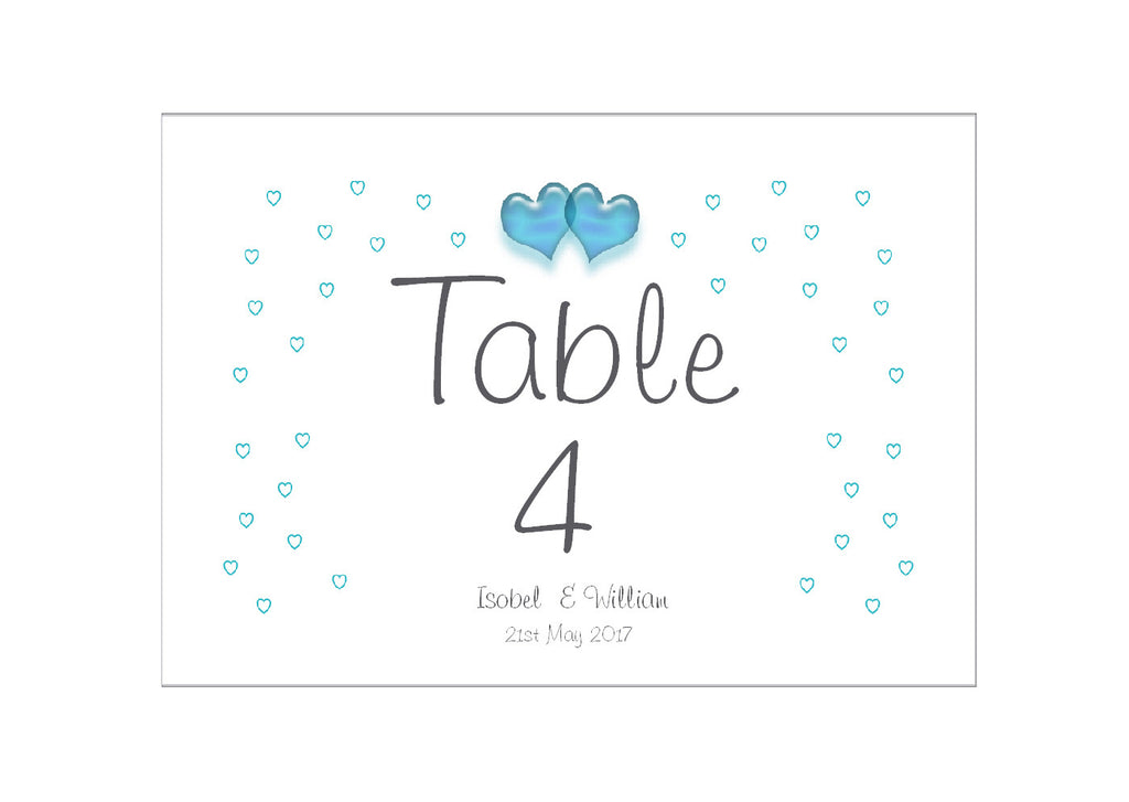 086 Turquoise Hearts Table Number Cards