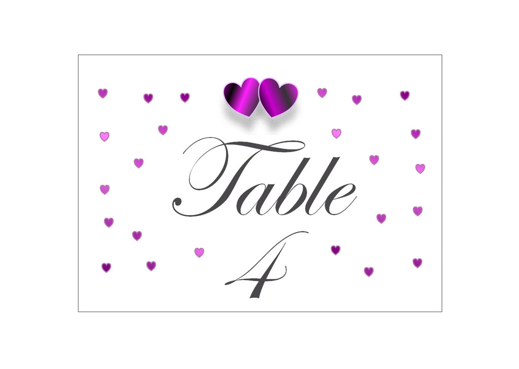 061 Purple Hearts Table Number Cards