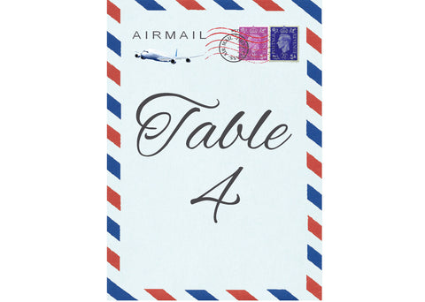 033 Airmail Table Number Cards