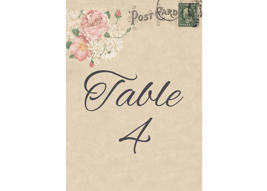 001 Bouquet Postcard Table Number Cards