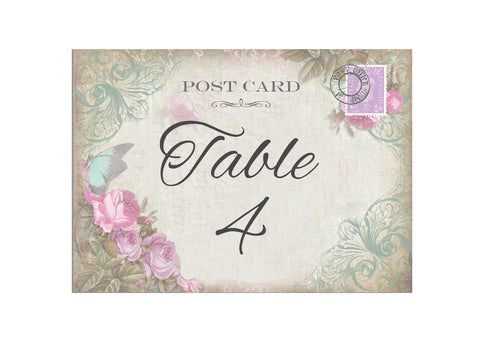 005 Butterfly Pink Flower Table Number Cards