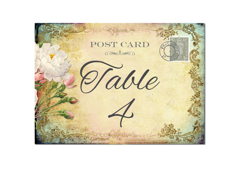 029 Cottage Garden Table Number Cards