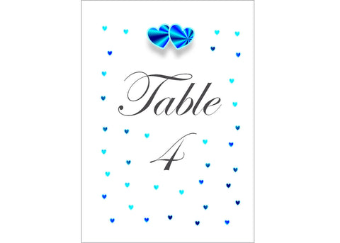 008 Blue Hearts Table Number Cards