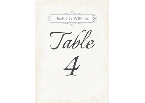 028 Classic Table Number Cards