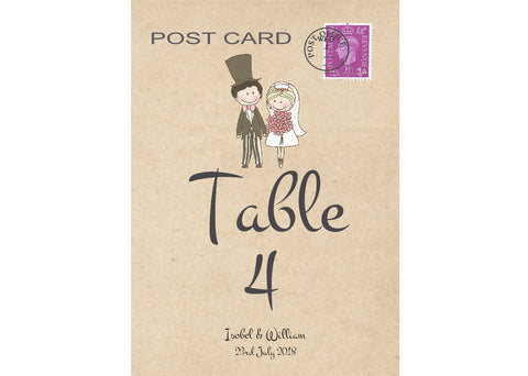 006 Cute Couple Table Number Cards